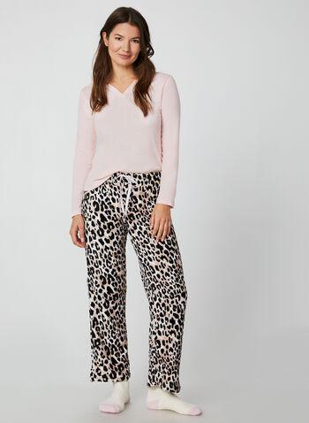 Pillow Talk - Two-Piece Pyjama Set, Pink, hi-res,  pyjama, leopard print, top, socks, cotton, plush, gift, fall 2019, winter 2019