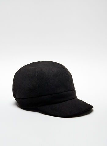Floral Detail Cabbie Hat, Black, hi-res