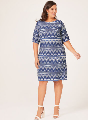 Aztec Puff Print Shift Dress, Blue, hi-res