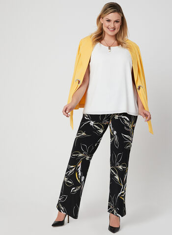 Leaf Print Wide Leg Pants, Black, hi-res,  pull-on, jersey, summer 2019