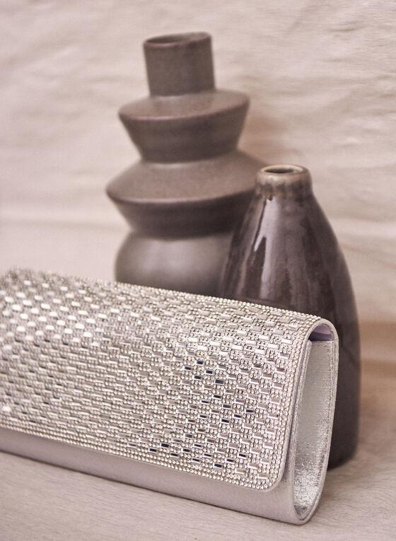 Crystal Flap Envelope Clutch, Silver