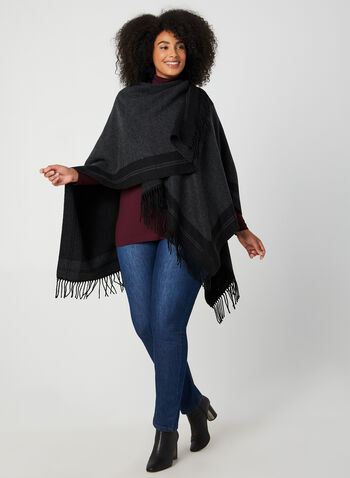 Fringed Poncho, Black,  fall winter 2019, poncho, open front, pashmina