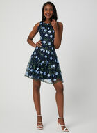 Floral Mesh Fit & Flare Dress, Blue