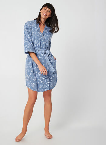 Claudel Lingerie - Lightweight Robe, Blue, hi-res,  robe, sleepwear, floral, fall 2019, winter 2019