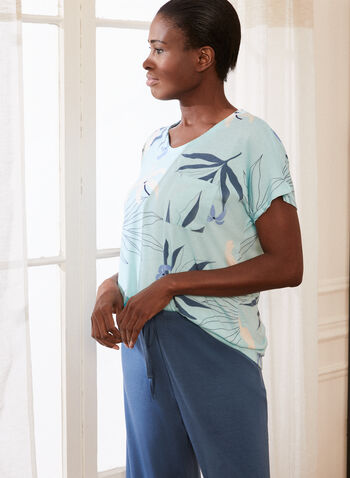 Print & Monochrome Pyjama Set, Blue,  pyjamas, set, 2 piece, capris, t-shirt, tropical print, drawstring, spring summer 2021