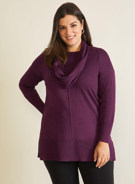 Pull tunique avec foulard, Violet