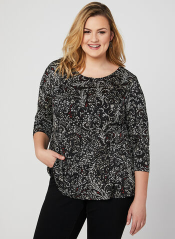 Mosaic Print Top, Black, hi-res