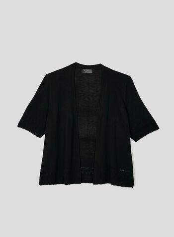 Pointelle Knit Bolero, Black, hi-res