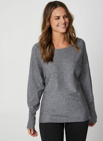 Studded Dolman Sleeve Top, Grey,  long sleeves, dolman sleeves, top, boat neck, studs, studded top, holiday top, fall 2019, winter 2019