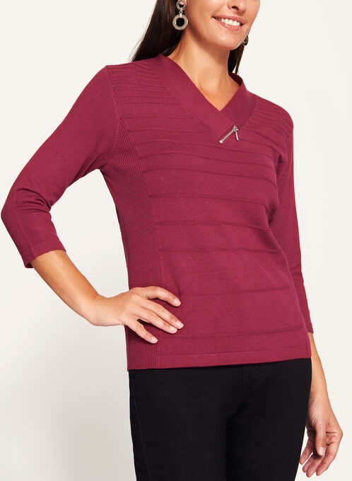V-Neck Zipper Trim Sweater, Red, hi-res