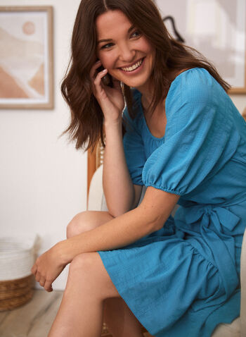 Maison Tara - Balloon Sleeve Dress, Blue,  spring summer 2021, Maison Tara, dress, tie detail, flouce dress, balloon sleeve, puff sleeve, elbow sleeve, scoop neck, above the knee, knee length
