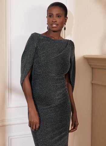 Draped Metallic Gown, Black, hi-res,  metallic, drape, brilliant, v back, cowl neck, gown, dress, fall 2019