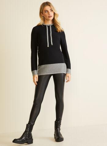Pull deux tons à détails liens, Noir,  automne hiver 2020, pull, liens, tricot, chandail, manches longues, clous, métallique, métallisé