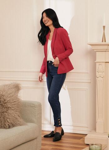 Veste à un bouton, Rose,  veste, blazer, fermeture un bouton, épaulettes, manches longues, col cranté, fausses poches, printemps été 2021