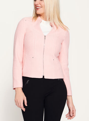 Boiled Wool Cropped Jacket, Pink, hi-res