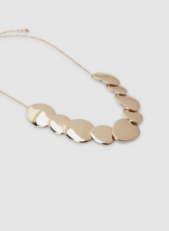 Collier court à pendentifs ovales métallisés, Or, hi-res