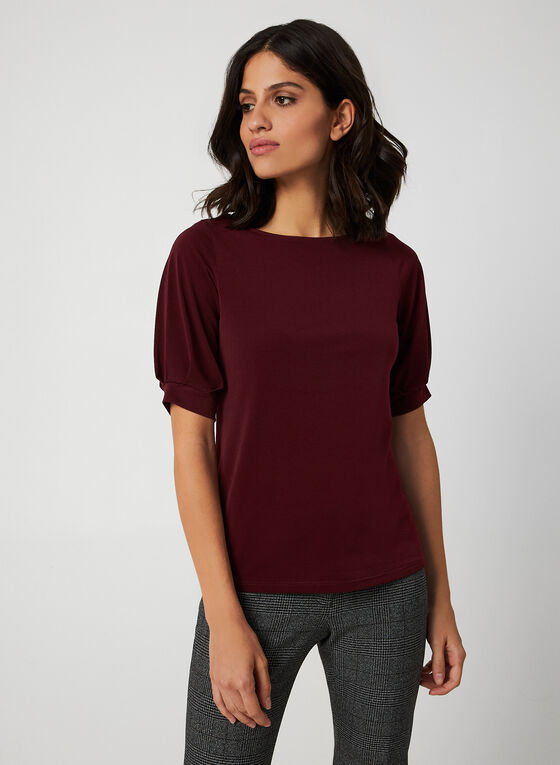 Elbow Cuffed Sleeve Blouse, Red