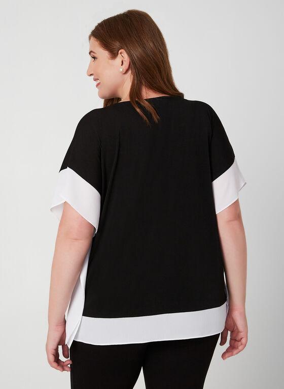 Short Sleeve Poncho Top, Black