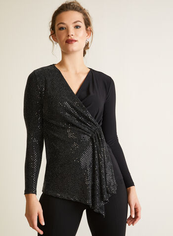 Matte and Sequin Wrap Top, Black,  fall winter 2020, sequins, shiny, sparkling, double fabric, long sleeves, holiday, sequin