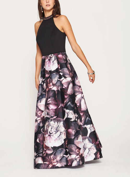Floral Print Cleo Beaded Neck Gown, Black, hi-res