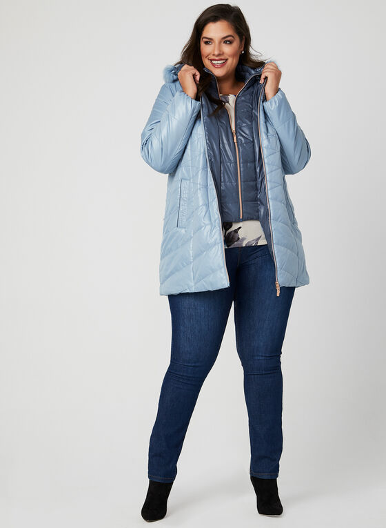 Marcona - Quilted Faux Down Coat, Blue, hi-res