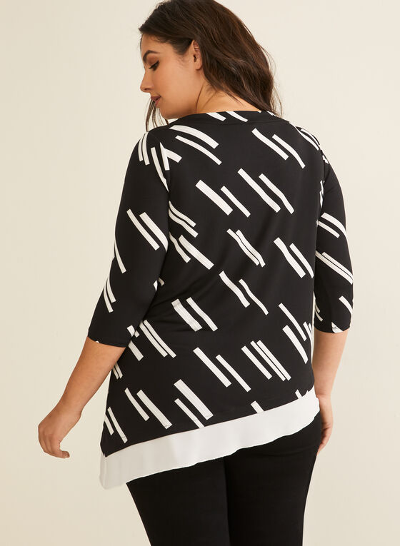 Haut asymétrique à motif géométrique, Noir