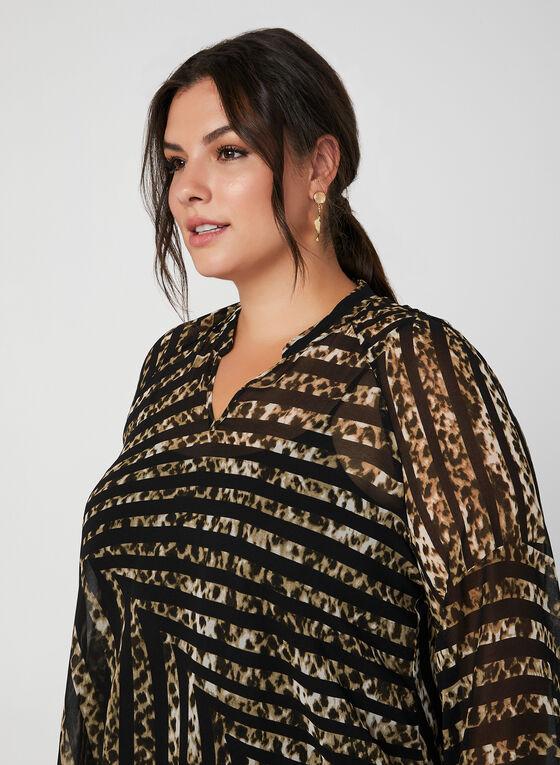 Blouse en mousseline à motif léopard, Noir, hi-res
