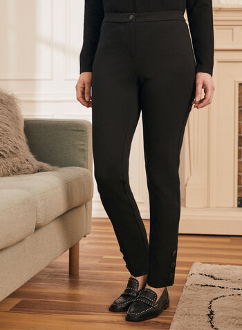 Signature Fit Slim Leg Pants, Black,  pants, signature, slim, button details, spring summer 2020
