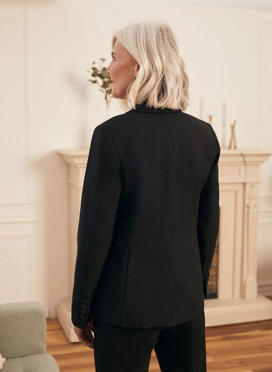 Notch Collar Single Button Jacket, Black