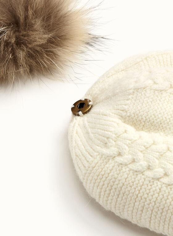 Cable Knit PomPom Hat, Off White, hi-res