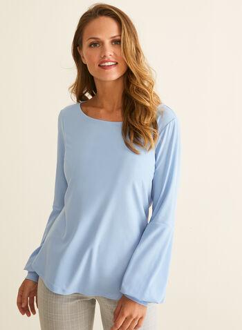 Blouse en crêpe à manches bouffantes, Bleu,  printemps été 2020, blouse, haut, manches longues, manches bouffantes, crêpe, fait au Canada