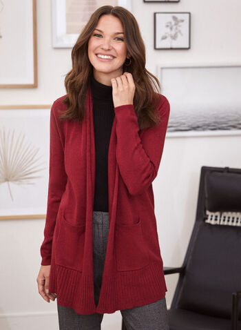 Cardigan mi-long à poches, Rouge,  automne hiver 2020, cardigan, ouvert, manches longues, poches, tricot
