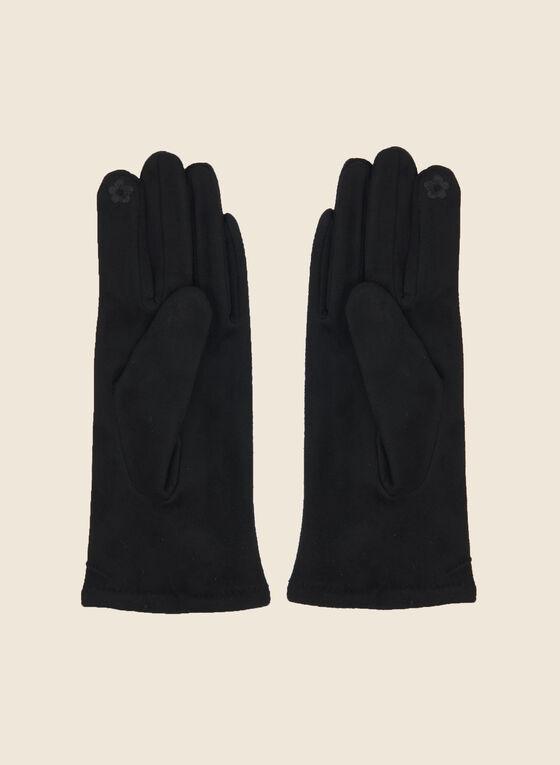 Button Detail Faux Suede Gloves, Black