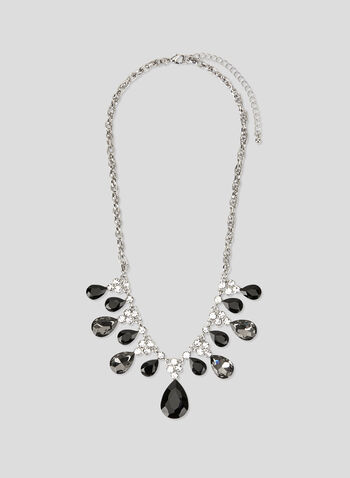 Collier à pendants gouttes et cristaux, Gris, hi-res