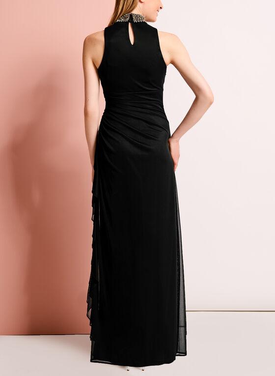 Robe de soirée à col montant perlé, Noir, hi-res