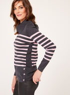 Button Detail Striped Sweater, Grey, hi-res