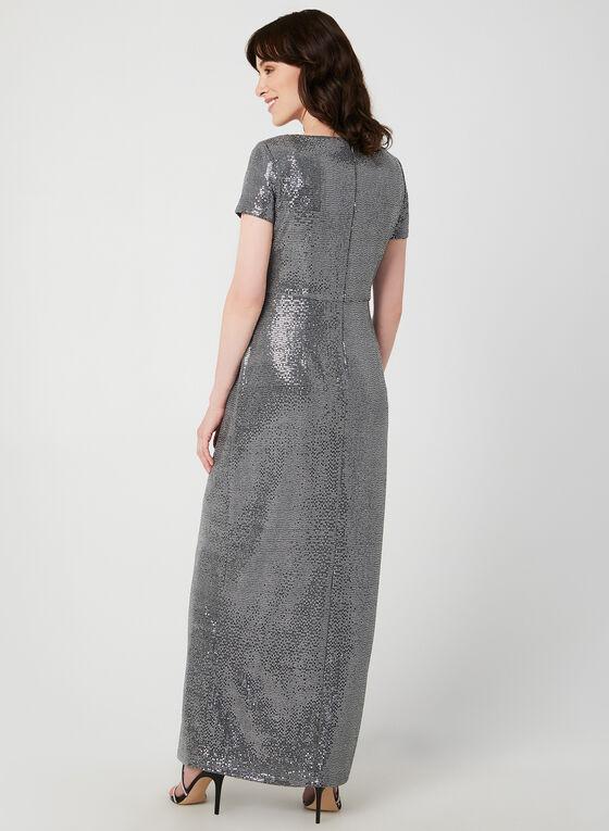 Short Sleeve Sequin Dress, Silver