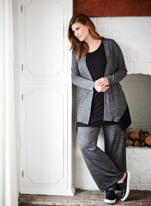Cardigan douceur en tricot chiné contrastant , Gris, hi-res