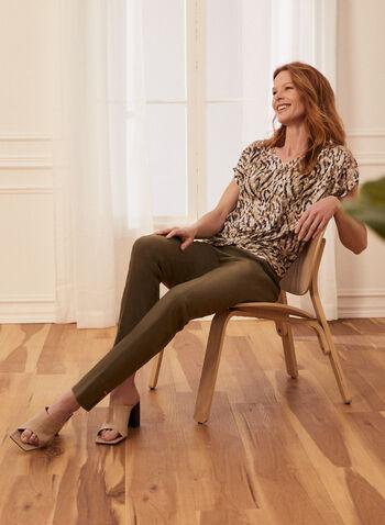 Pantalon coupe cité à jambe étroite, Vert,  pantalon, pull-on, cité, jambe étroite, détails métallisés, fente, printemps été 2020