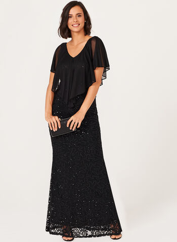 Sequin Lace Gown, , hi-res