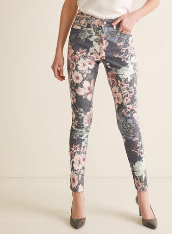 Jeans fleuri à jambe étroite, Bleu,  jeans, jambe étroite, fleurs, denim, poches, printemps été 2020