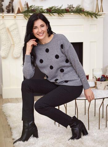 Polka Dot Dolman Sleeve Sweater, Grey,  fall winter 2020, scoop neck, dolman, long sleeve, ribbed, contrast, polka dot, pattern, comfort, stretch, sweater, pullover