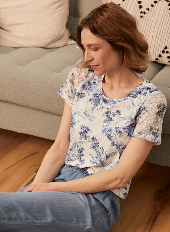 Floral Print Lace Sleeve Tee, Blue,  lace sleeve, lace, tee, top, t-shirt, short sleeves, floral print, scoop neck, round neck, lace, spring summer 2021