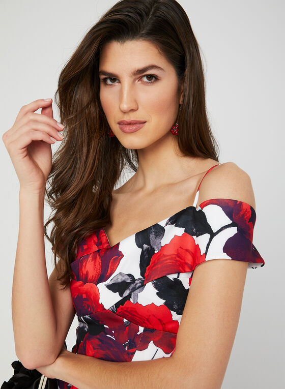 Rose Print Mermaid Dress, Red, hi-res