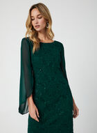 Sequin Lace Sheath Dress, Green