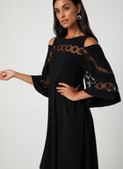 Bell  Sleeve A-Line Dress, Black
