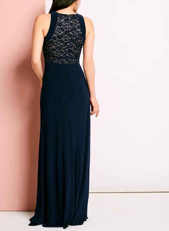 Glitter Lace Bodice Jersey Dress, Blue, hi-res