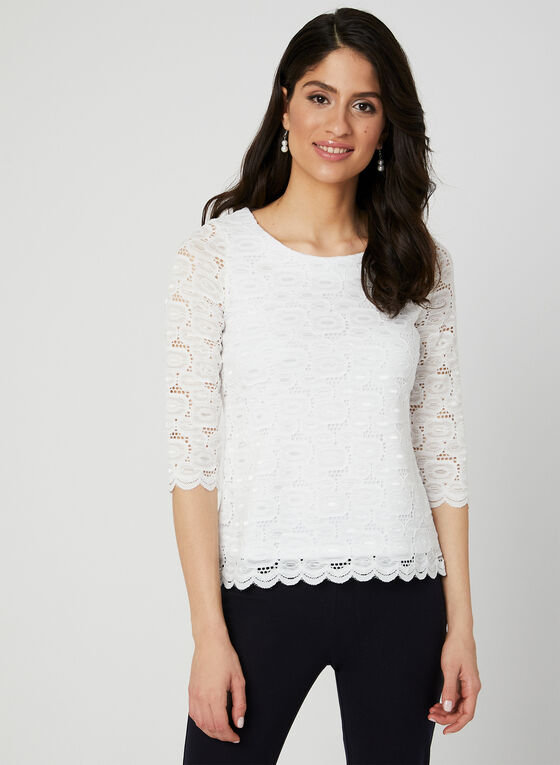 ¾ Sleeve Lace Top, White, hi-res
