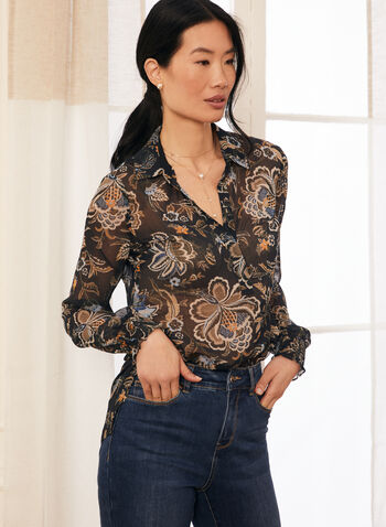 Floral Print Smocked Sleeve Tunic, Blue,  tunic, blouse, top, tunisian, floral, long sleeves, smocked, shirt collar, high low, fall winter 2020