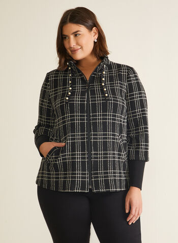 Plaid Knit Zip Front Jacket, Black,  jacket, long sleeves, zip front, pearl, plaid, knit, pockets, high collar, fall winter 2020
